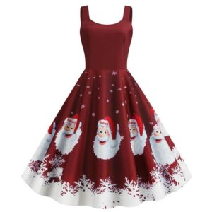 robe année 50 hiver rouge