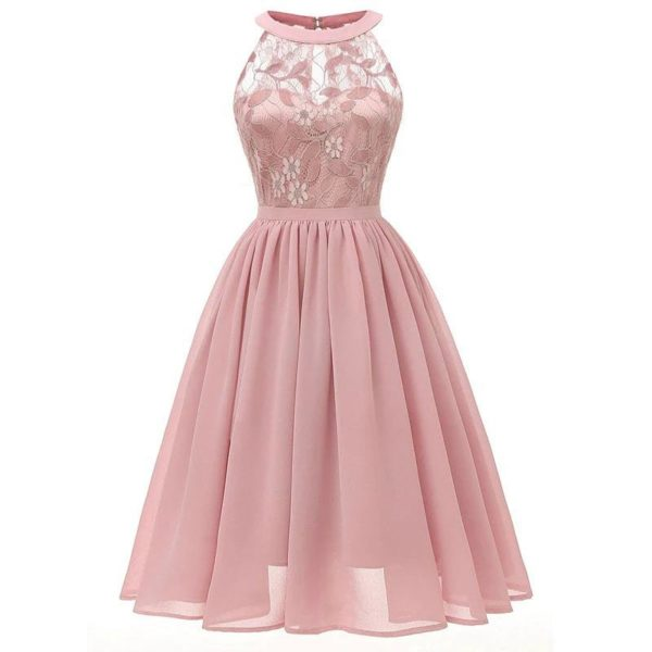 robe année 60 chic rose poudre